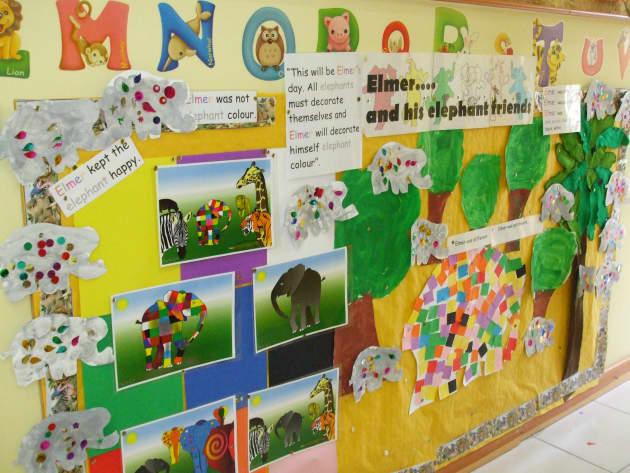 Elmer the Elephant Display, classroom display, class display, Story, Elmer the elephant, reading, rhymes, Early Years (EYFS), KS1 & KS2 Primary Resources