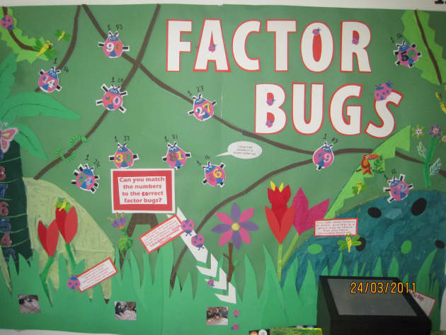 Factor Bugs Display, classroom display, class display, numercay, maths, math, numbers, factor, Early Years (EYFS), KS1 & KS2 Primary Resources