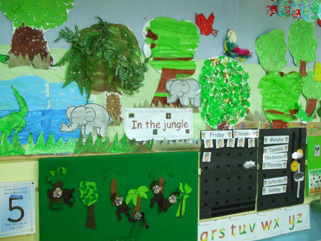 In the Jungle Display, classroom displays, class display, animal, jungle, lion, monkey, explorer,  Early Years (EYFS), KS1 & KS2 Primary Teaching Resources