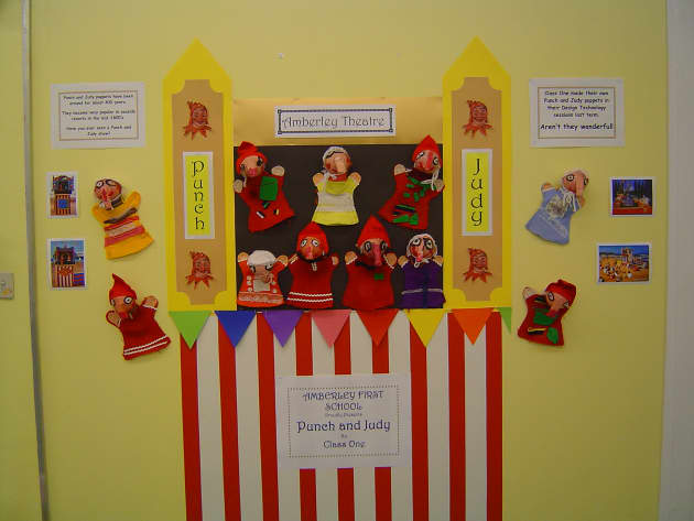 Punch and Judy Display, Classroom Display, class display, culture, Theater, puppet, entertainment, play,  Early Years (EYFS), KS1&KS2 Primary Resources