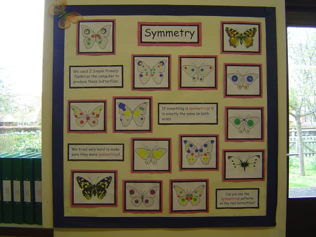 Symmetry Display, classroom display, class display, numeracy, maths, math, Symmetry, butterfly, counting, Early Years (EYFS), KS1 & KS2 Primary Resources