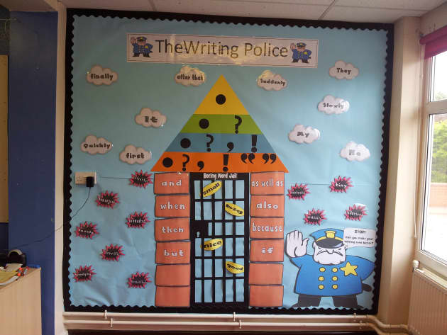 Writing Police Display, classroom display, class display, words, letters, literacy, rules, punctuation, Early Years (EYFS), KS1 & KS2 Primary Resources