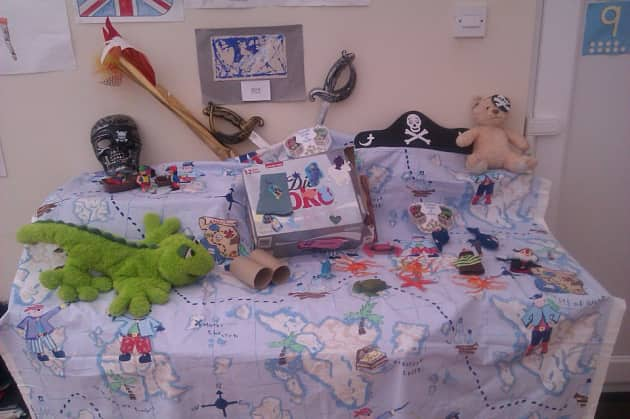 Pirate Map Display, classroom display, class display, Pirates, pirate, jolly roger, treasure, ship, Early Years (EYFS), KS1 & KS2 Primary Resources