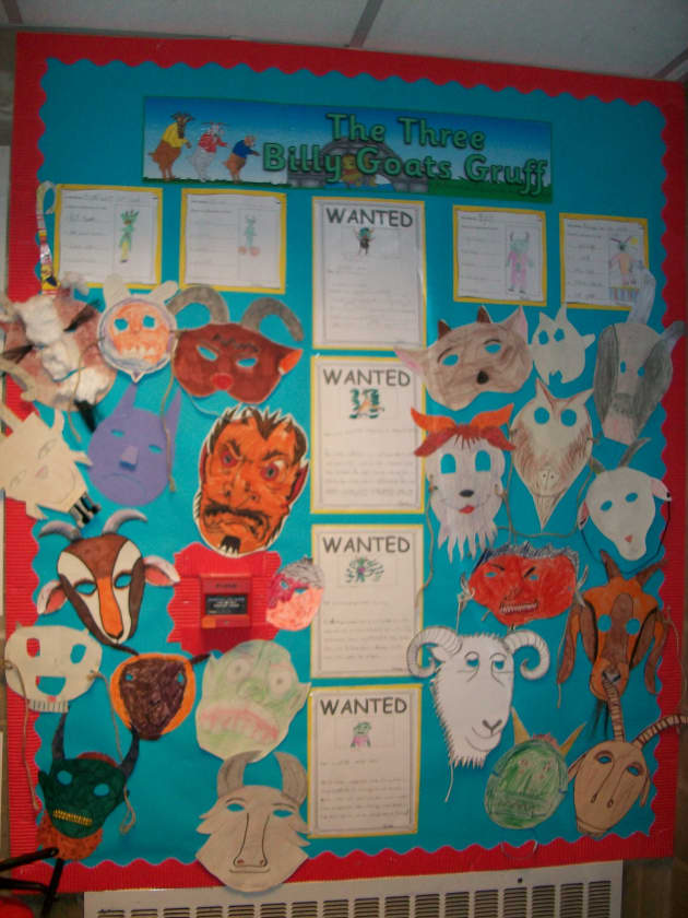 Billy Goats Gruff Display, classroom display, class display, Story, nursery rhyme, reading, goats, three, Early Years (EYFS), KS1 & KS2 Primary Resources