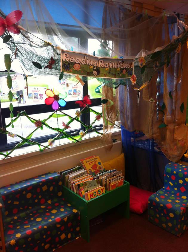 Modern Language Classroom Displays ~ Reading rainforest display book corner