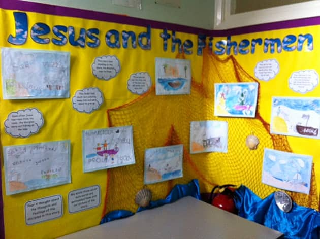 Jesus and the Fishermen Display, classroom display, class display, bible story, religion, christian, story, Early Years (EYFS),KS1 & KS2 Primary Resources