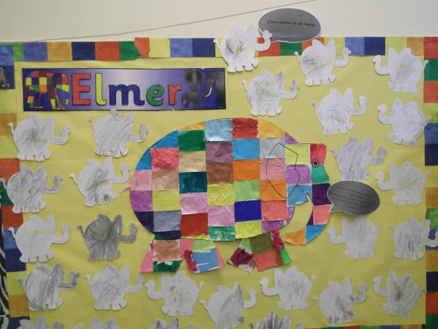 Elmer Book Display, classroom display, class display, Elmer, Elephant, Elmer the Elephant, colour, book, Early Years (EYFS), KS1 & KS2 Primary Resources