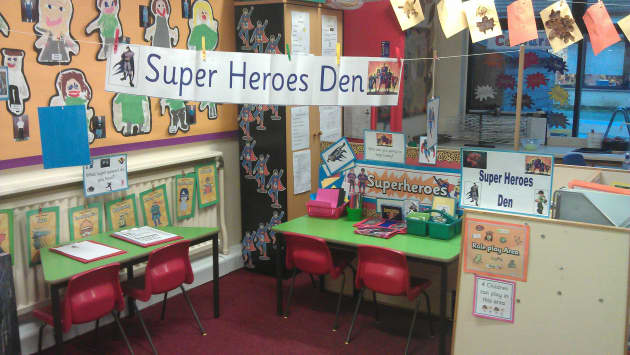 Super Heroes Den Role Play Display, classroom display, class display, Roleplay, super hero, role play, role, Early Years (EYFS),KS1 & KS2 Primary Resources