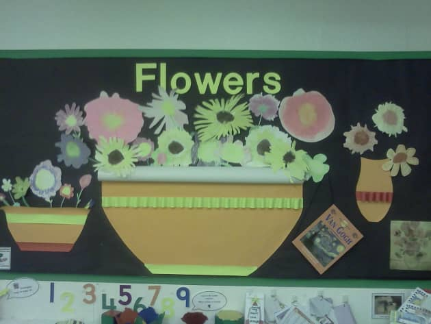 Flower Display, classroom display, class display, Plants, flowers, growth, growing, planting, art, Early Years (EYFS), KS1& KS2 Primary Resources