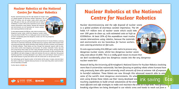 Nuclear Robotics Fact Sheet